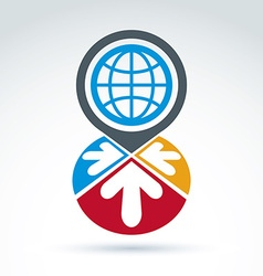 Global earth with arrows pointing into center icon vector image