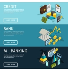 Atm isometric banner set vector