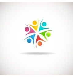Abstract people logo sign icon Blue pink vector image