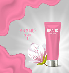 advertising poster with cosmetic cream and vector image vector image