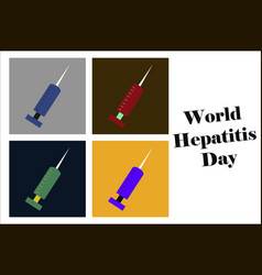 Assembly of flat icons on theme world hepatitis vector