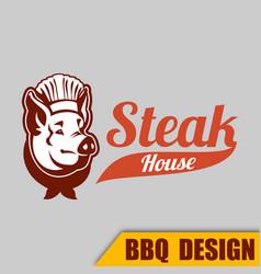 Bbq pig sh logo image vector