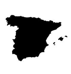 black silhouette country borders map of spain on vector image