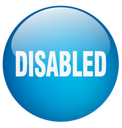 Disabled blue round gel isolated push button vector