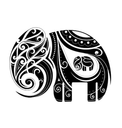 Elephant shape ornament vector