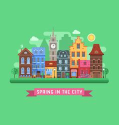 Europe spring street landscape vector