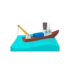 Fishing boat cartoon icon vector image
