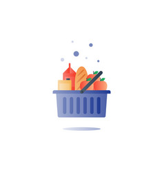 Food abundance grocery order food pile in basket vector
