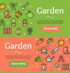 gardening banner horizontal set vector image