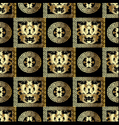 gold baroque seamless pattern modern floral black vector image