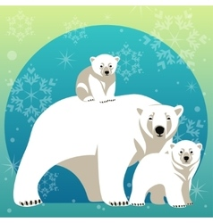 Greeting Card with Polar bear family vector image