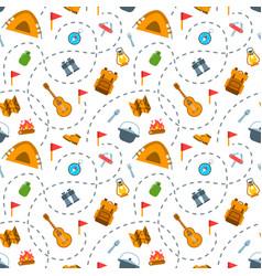 hiking tourism flat seamless background pattern vector image