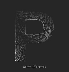 Letter p of branch or cracked alphabet p vector