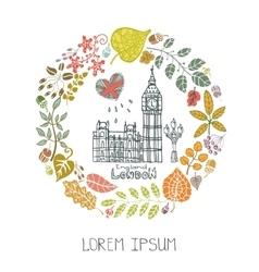 London landmarkAutumn leaves wreathBig Ben vector image