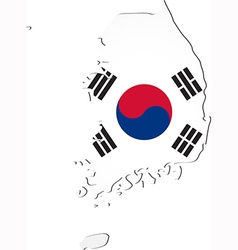 Map of South Korea with national flag vector image vector image