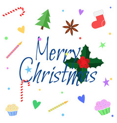 merry christmas greeting card in flat style xmas vector image