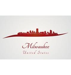 Milwaukee skyline in red vector
