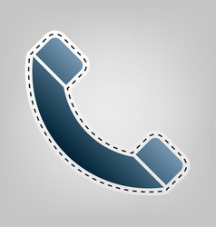 Phone sign blue icon with vector