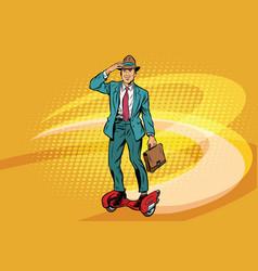retro businessman on steampunk rocket skateboard vector image