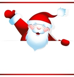 Santa claus holds blank banner vector