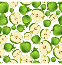 Seamless apple fruit sliced pattern vector image