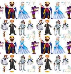 seamless design with fairytale characters vector image vector image