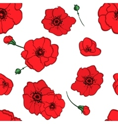 seamless pattern red poppies vector image vector image