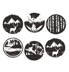Set of wilderness hand drawn black emblems vector