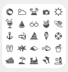 Summer vacation icons set vector