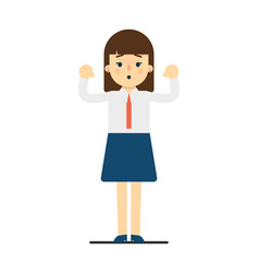 surprised young woman with hands up gesture vector image