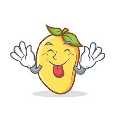 tongue out mango character cartoon mascot vector image vector image