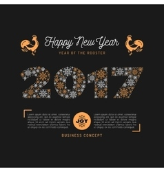 Trendy happy new year card 2017 numbers vector