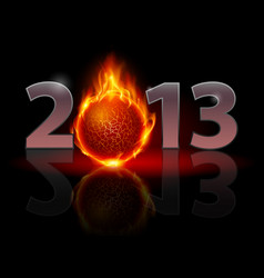 Twenty thirteen year fire ball on black vector