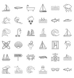 water icons set outline style vector image vector image