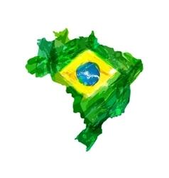 Watercolor hand drawn Brazilian map vector image vector image