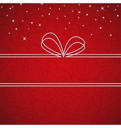 White bow frame on a red textural background vector image vector image
