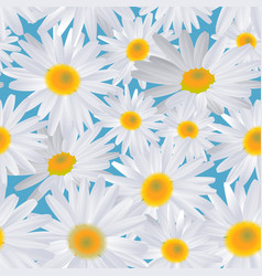 White daisy flower on blue seamless background vector