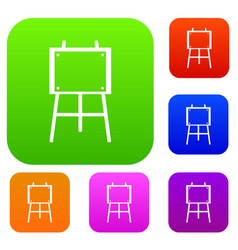 Wooden easel set collection vector