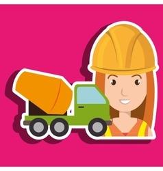 worker mixer cement machinery vector image
