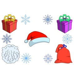 Attributes of the santa claus wi vector