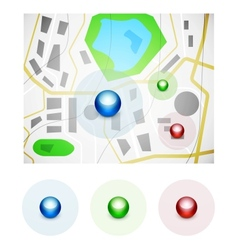 Glossy spheres map pointer icons vector image