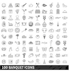 100 banquet icons set outline style vector image