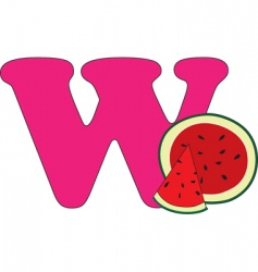 W is for watermelon vector