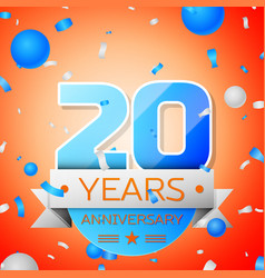 twenty years anniversary celebration vector image