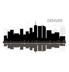 denver city skyline black and white silhouette vector image