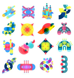 color shapes icons collection vector image