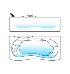 Bath top and side views vector
