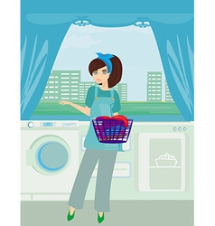Young woman doing laundry at her home vector