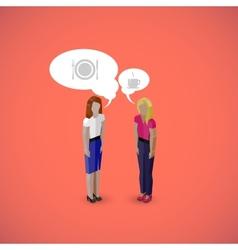 3d isometric cartoon of women or girls characters vector image vector image