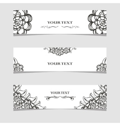Three banners with black and white flowers vector